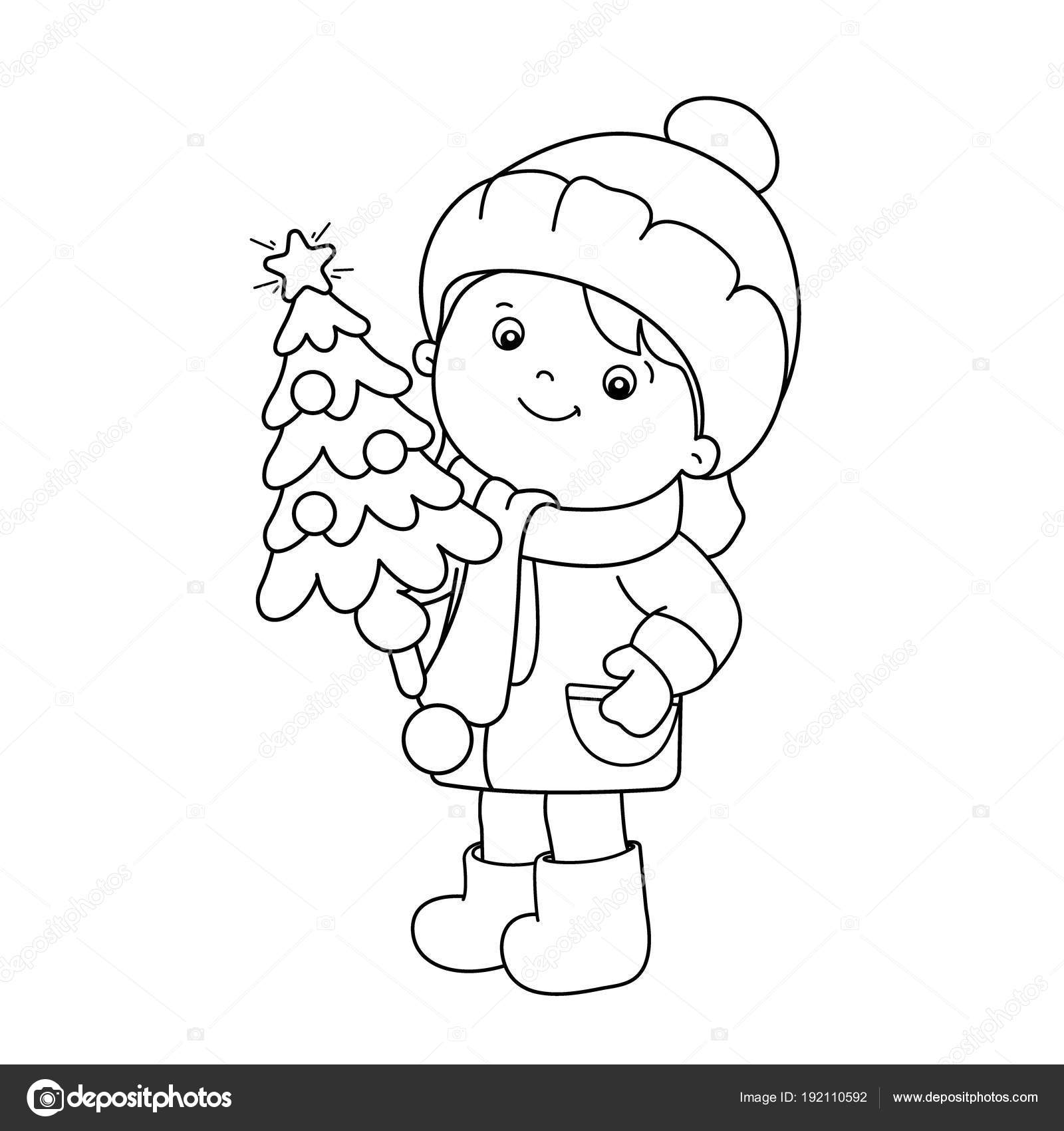 Colorear el contorno de la página de niña con árbol de Navidad ...