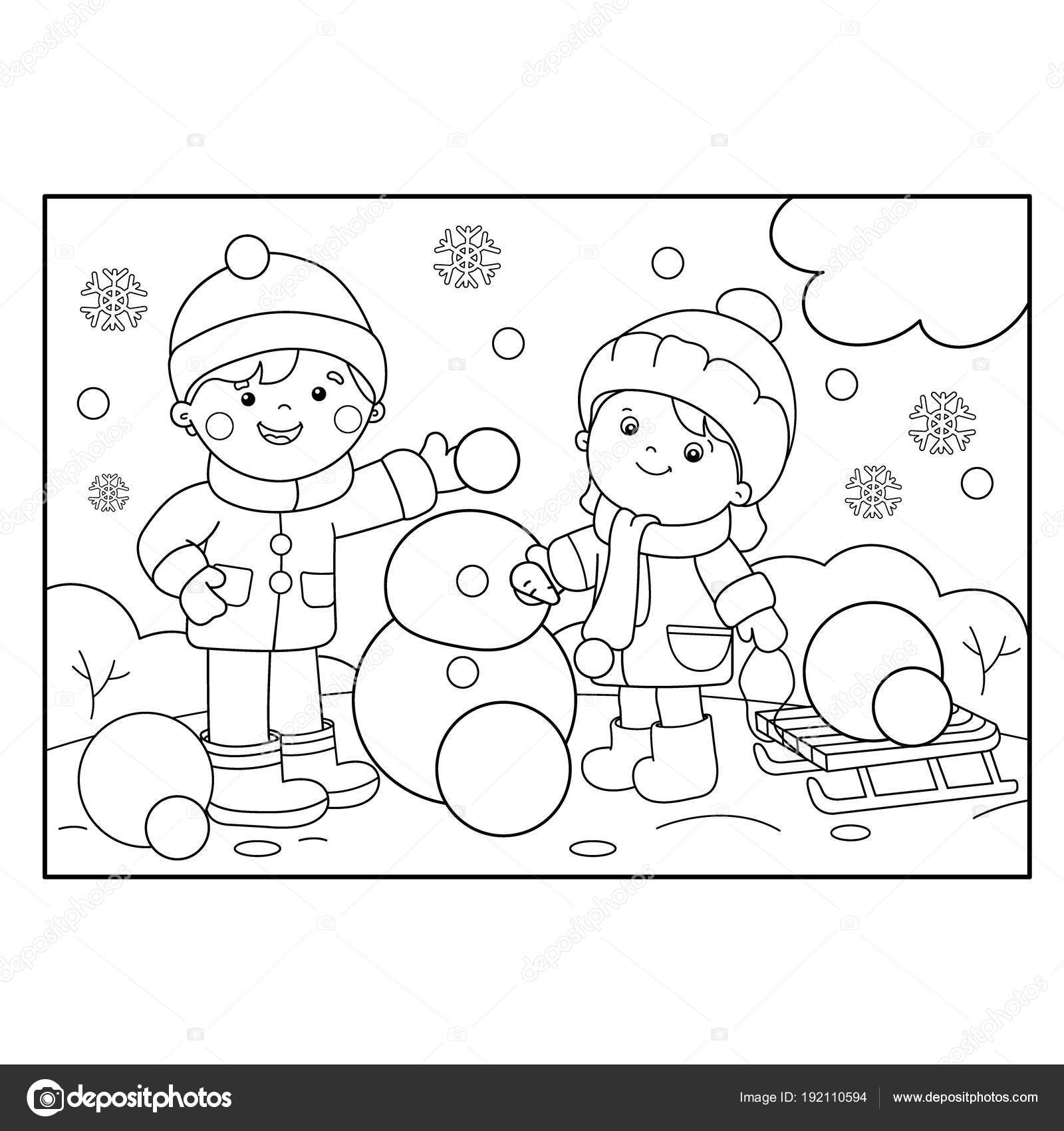 Coloring Page Outline Of cartoon boy with girl making snowman ...