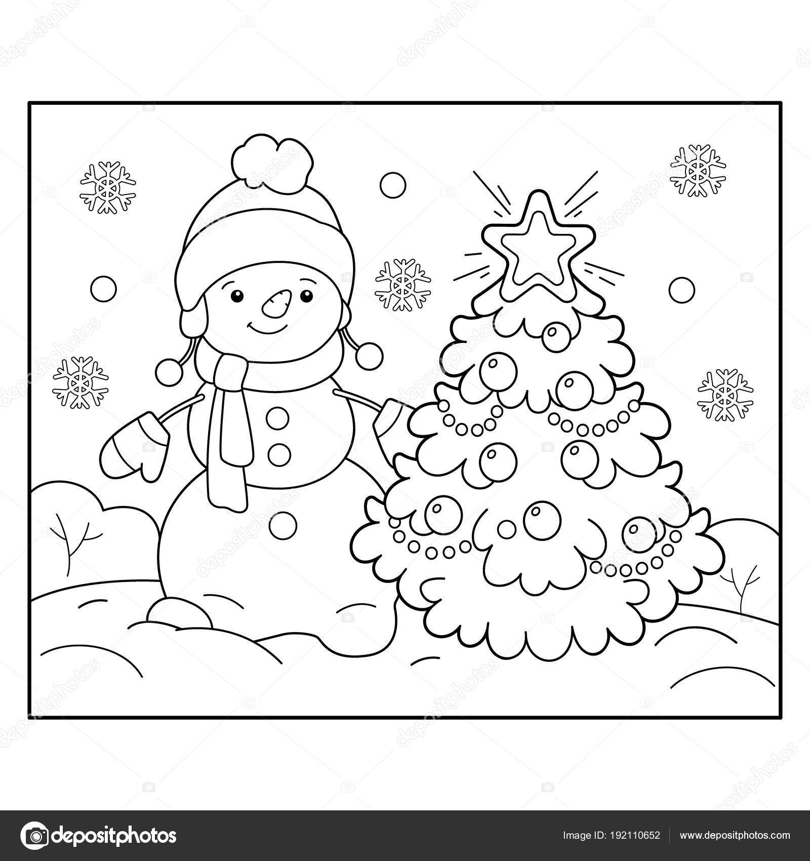 Coloring Page Outline Of snowman with Christmas tree. Christmas. New ...
