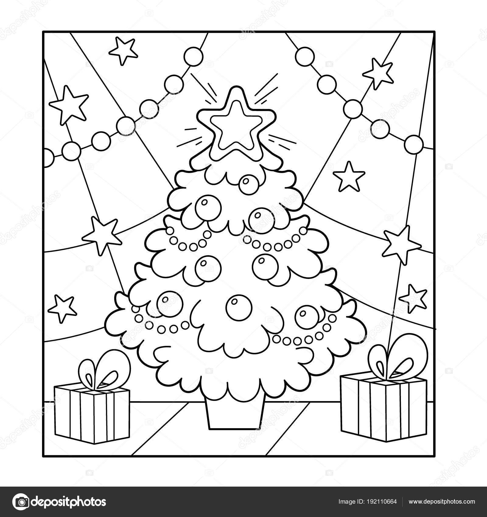 Árbol de Navidad con adornos y regalos. Navidad. Año nuevo. Libro de ...