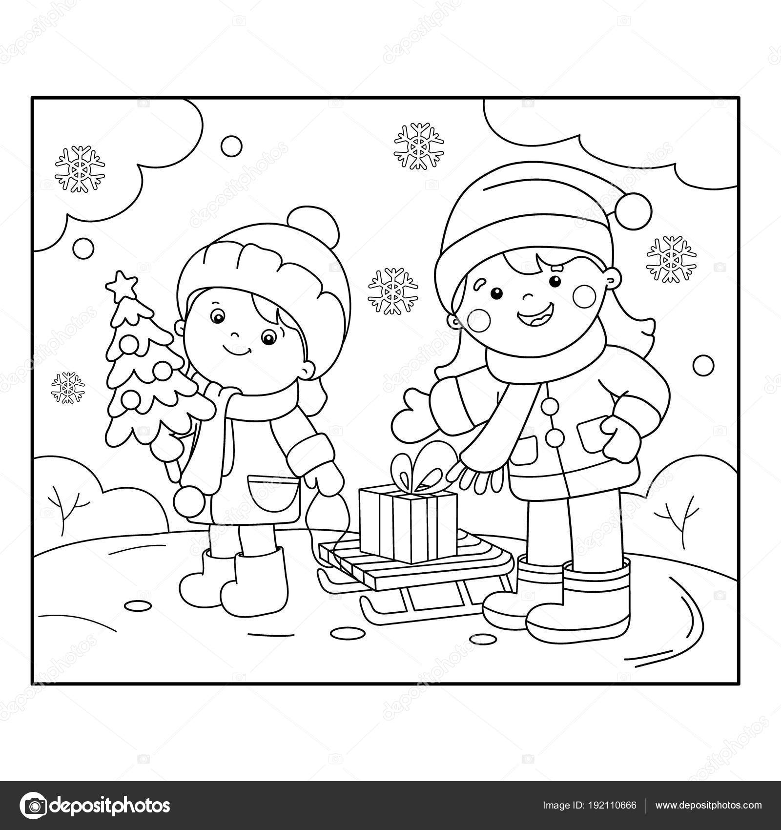 Kleurplaten Van Kerst En Nieuwjaar.Kleurplaat Pagina Overzicht Van Kinderen Met Geschenken Bij De