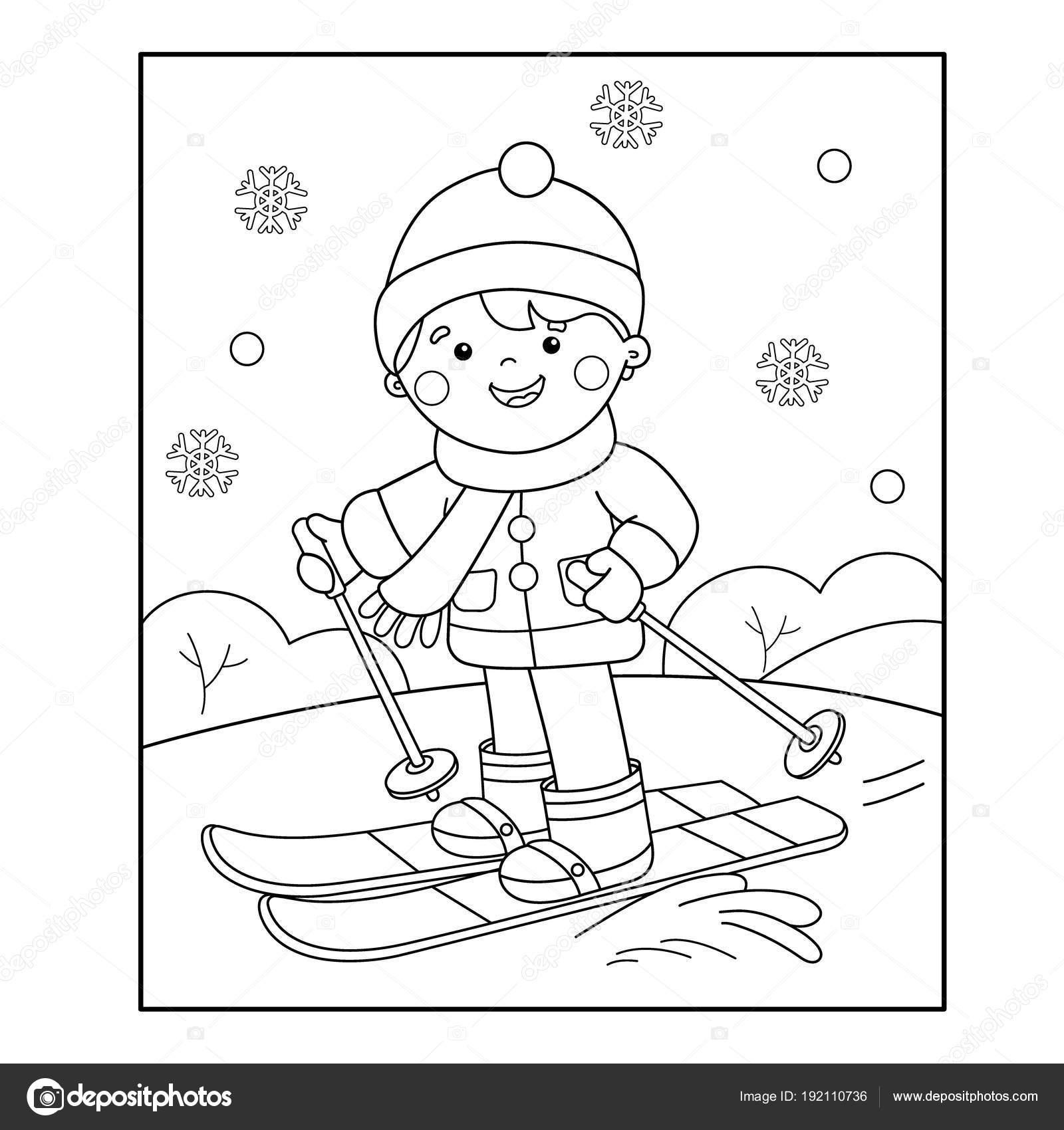 ぬりえページ概要の漫画少年スキーします冬のスポーツ子供のための