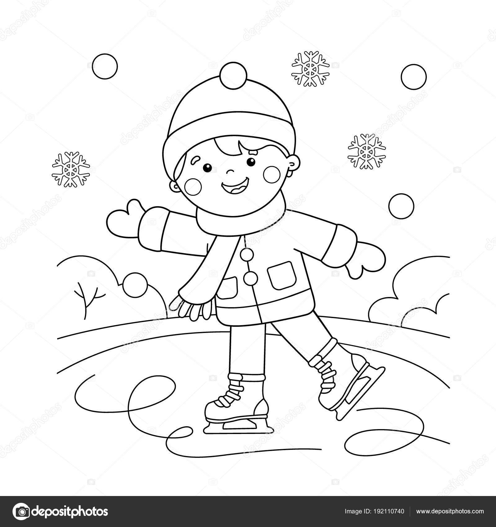 Colorir Página Contorno Dos Desenhos Animados Menino
