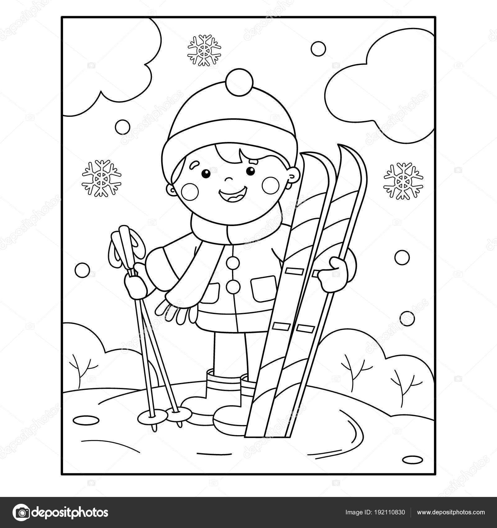 Colorear página contorno de dibujos animados chico con esquís ...