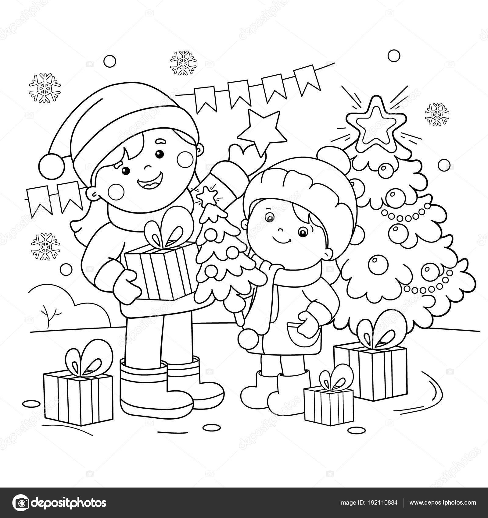 Colorear el contorno de la página de los niños con regalos en el ...