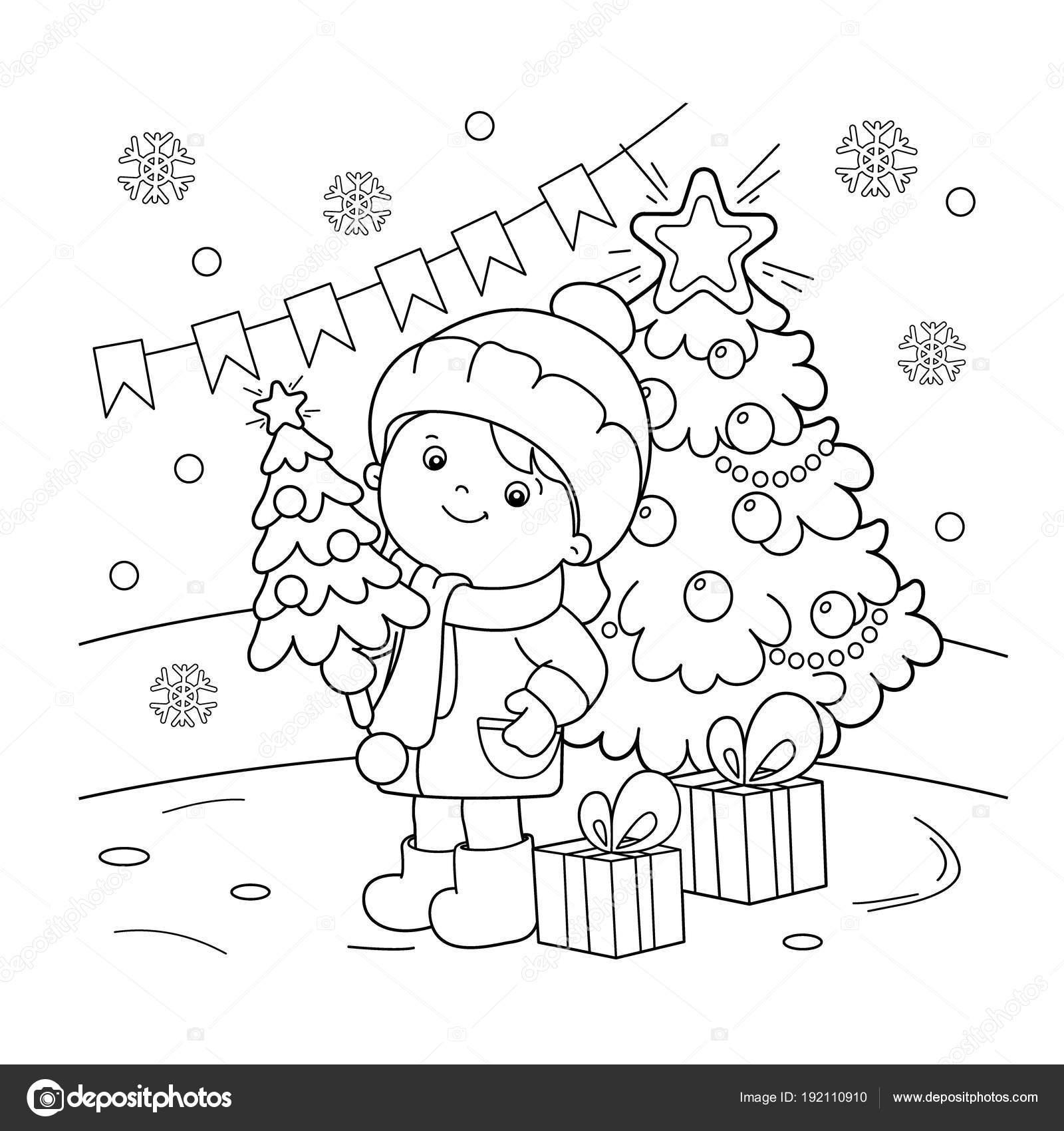 Colorear el contorno de la página de chica con regalos en el árbol ...