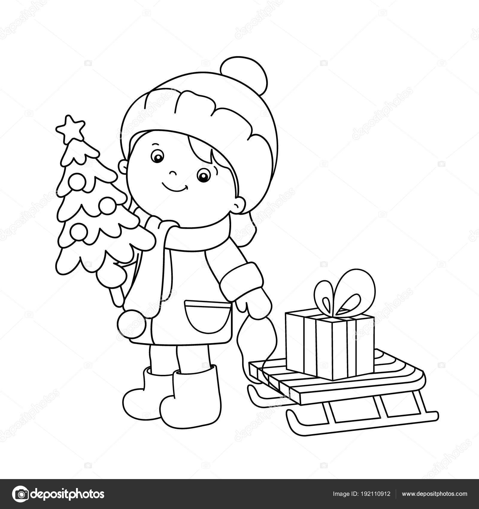 Boyama Sayfa Anahat Kızla Noel Ağacı Hediyeler Noel Yeni Yıl
