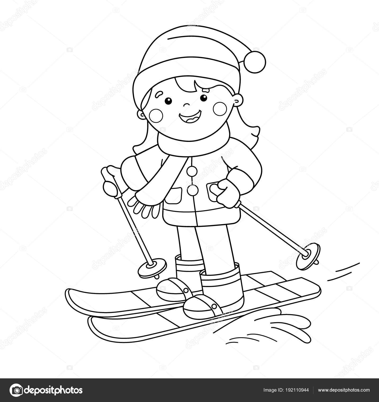 Kayak Boyama Sayfa Anahat Karikatür Kız Kış Sporları çocuklar