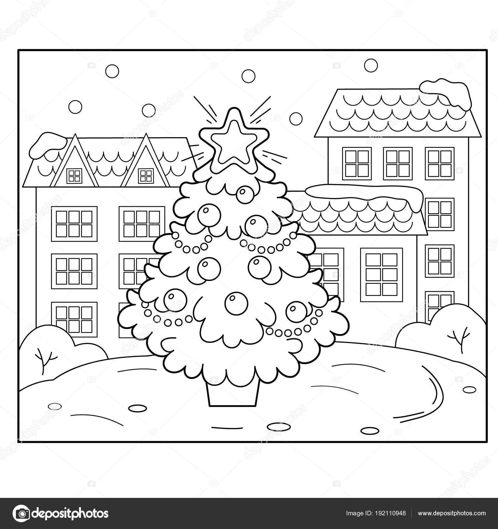 Weihnachtsbaum mit Schmuck und Geschenke in der Stadt. Weihnachten ...