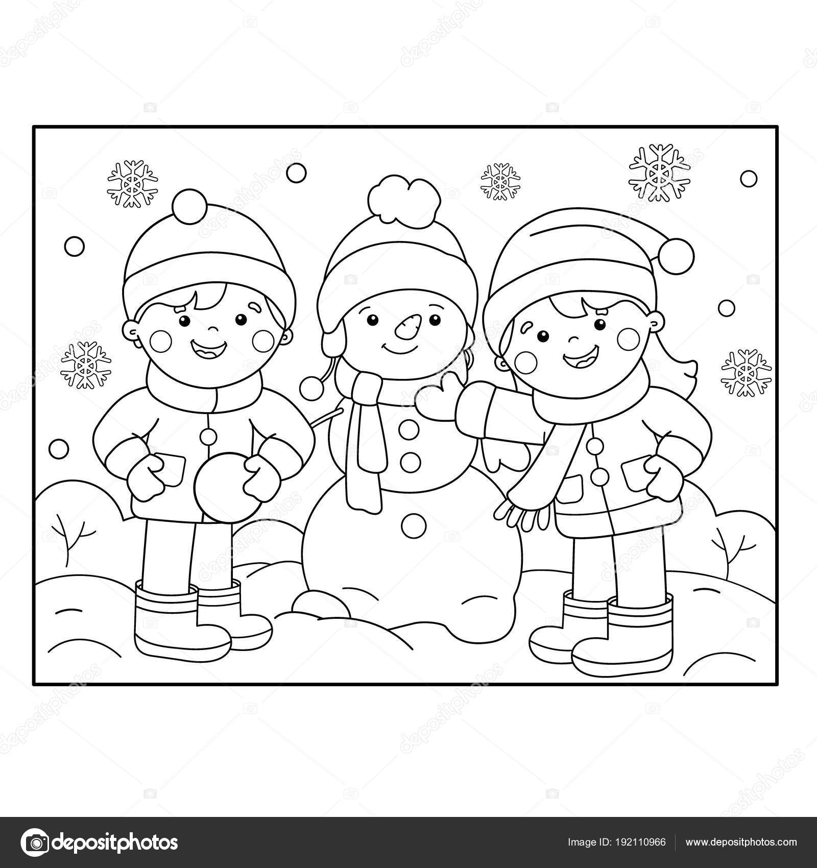 coloring page outline of cartoon boy with girl making snowman