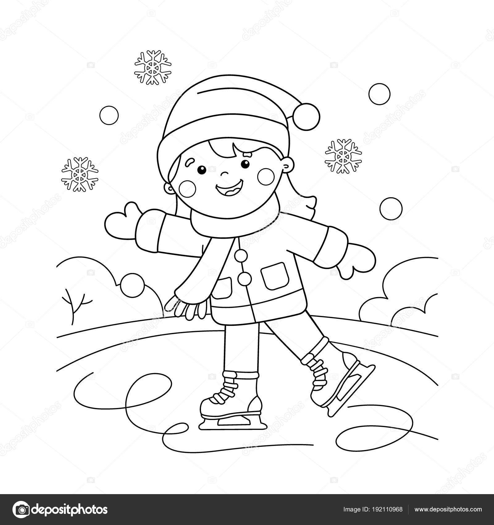 Buz Pateni Boyama Sayfa Anahat Karikatür Kız Kış Sporları