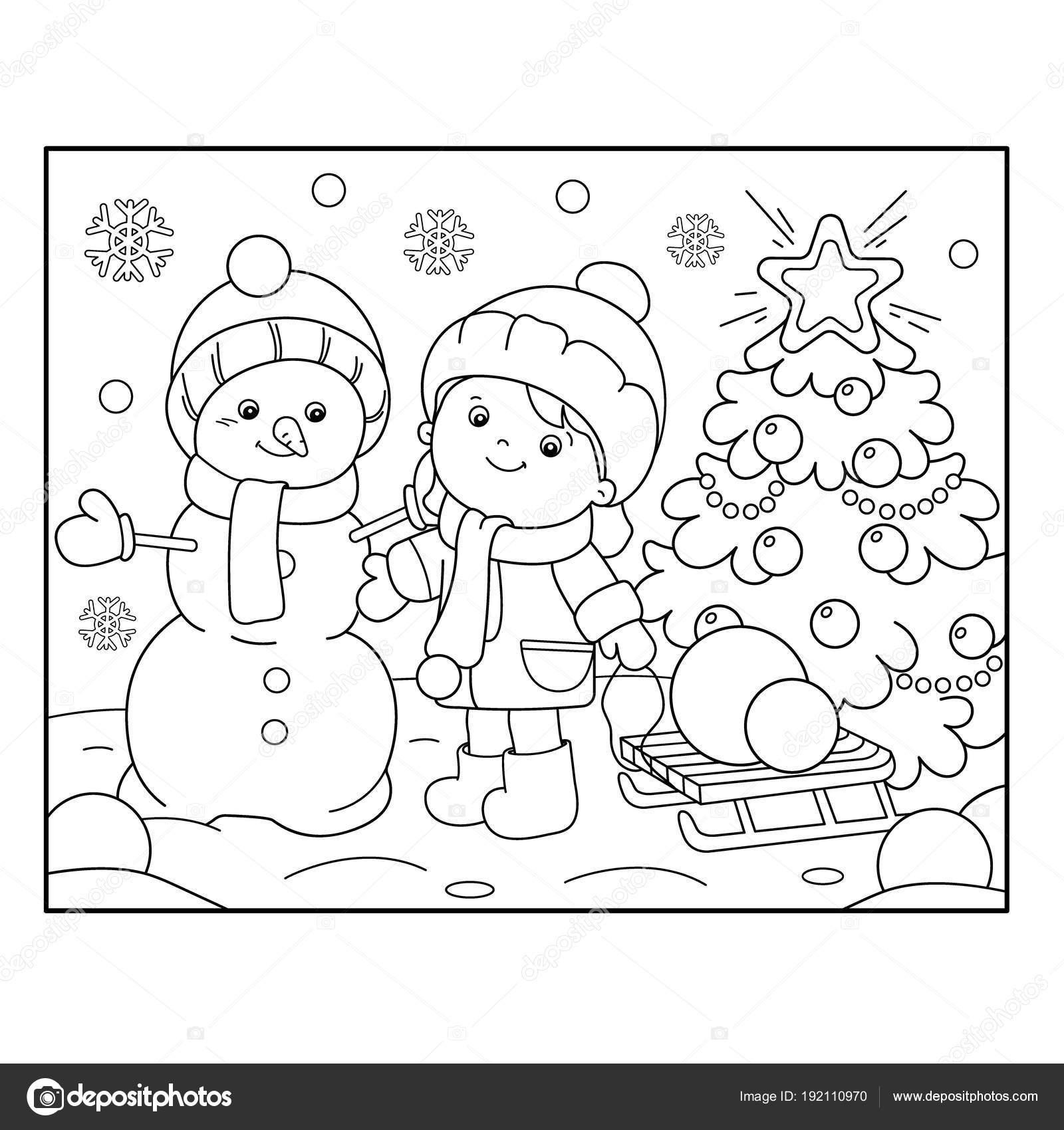 Colorear el contorno de la página de niña con muñeco de nieve y ...