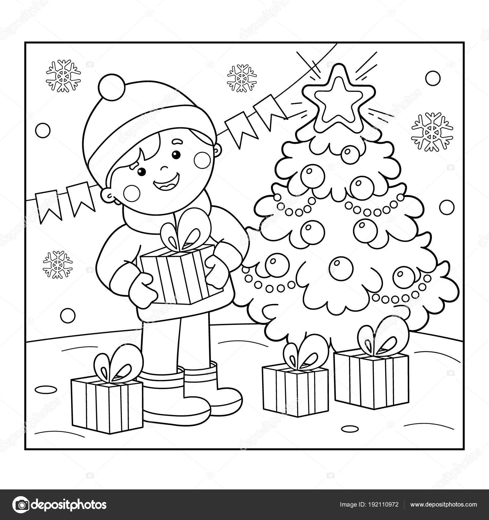 coloring page outline of boy with gifts at christmas tree christmas