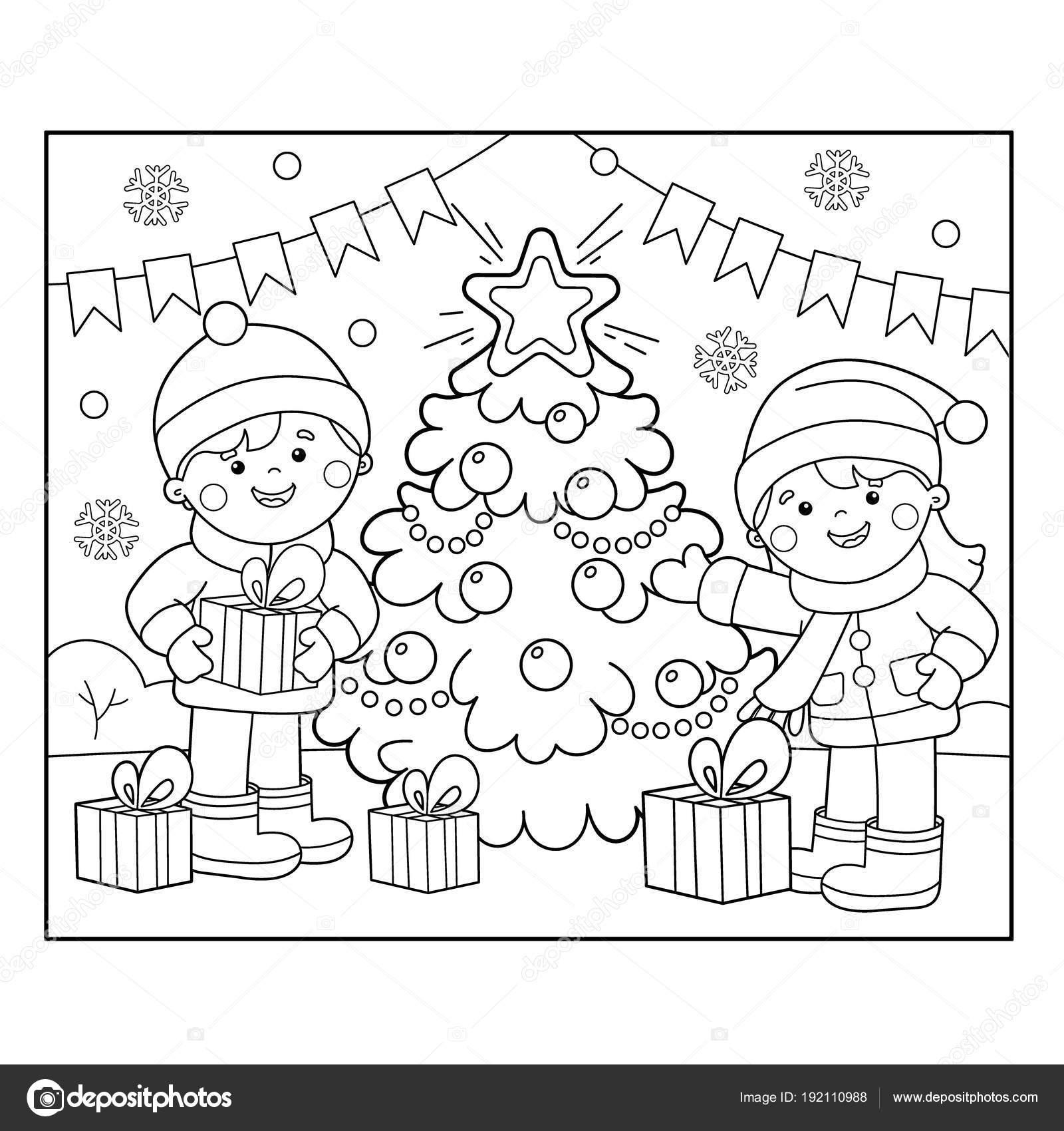 Sayfa Anahat çocuklar Noel Ağacı Hediyeler Ile Boyama Noel Yeni