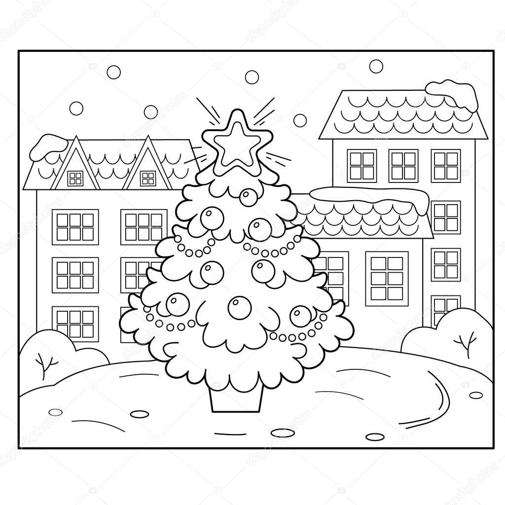 Рождественская елка с украшениями и подарки в городе ...