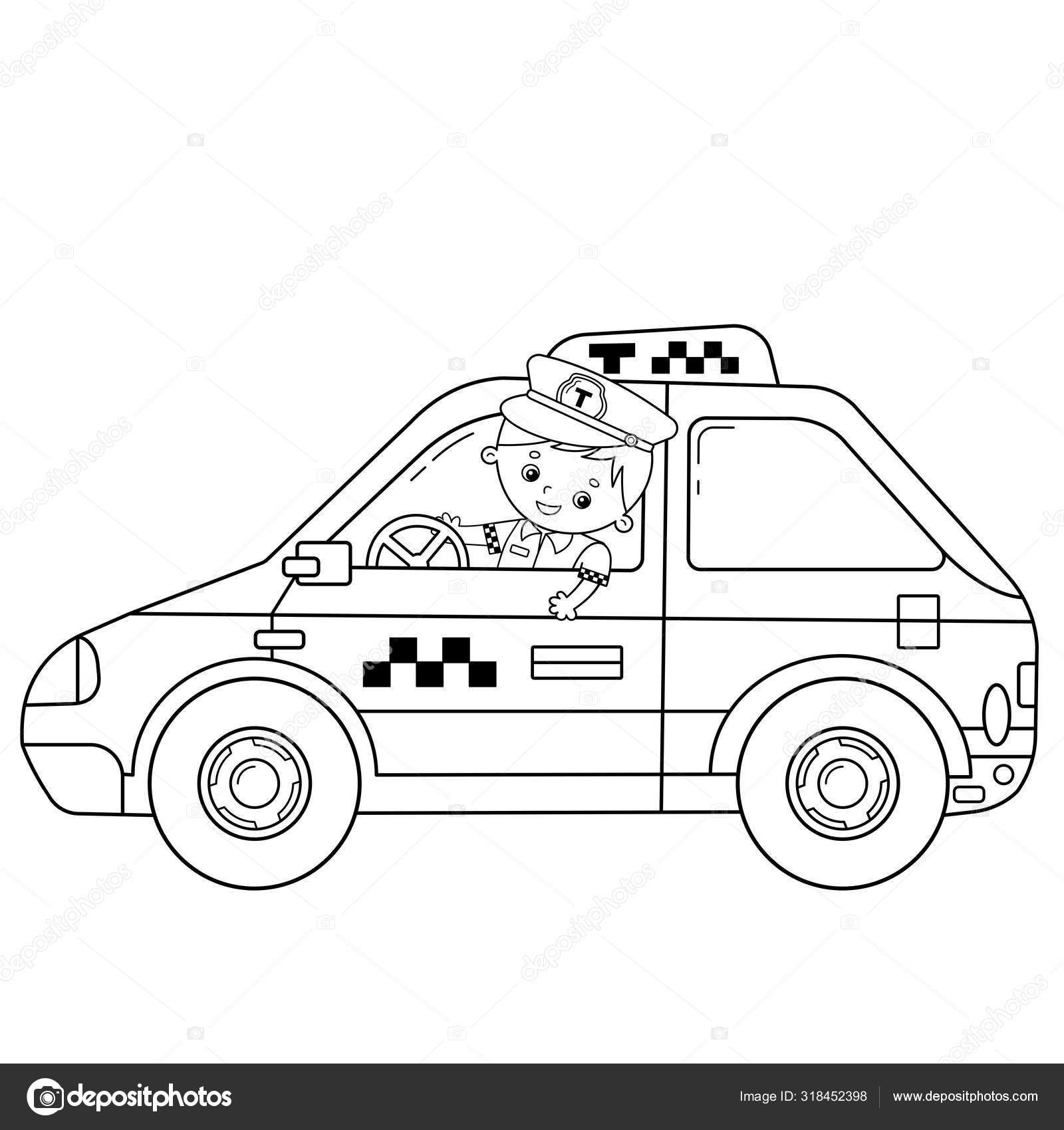 Coloring Page Outline Of Cartoon Taxi Driver With Car Profession Driver Taxi Image Transport Or Vehicle For Children Coloring Book For Kids Vector Image By C Oleon17 Vector Stock 318452398