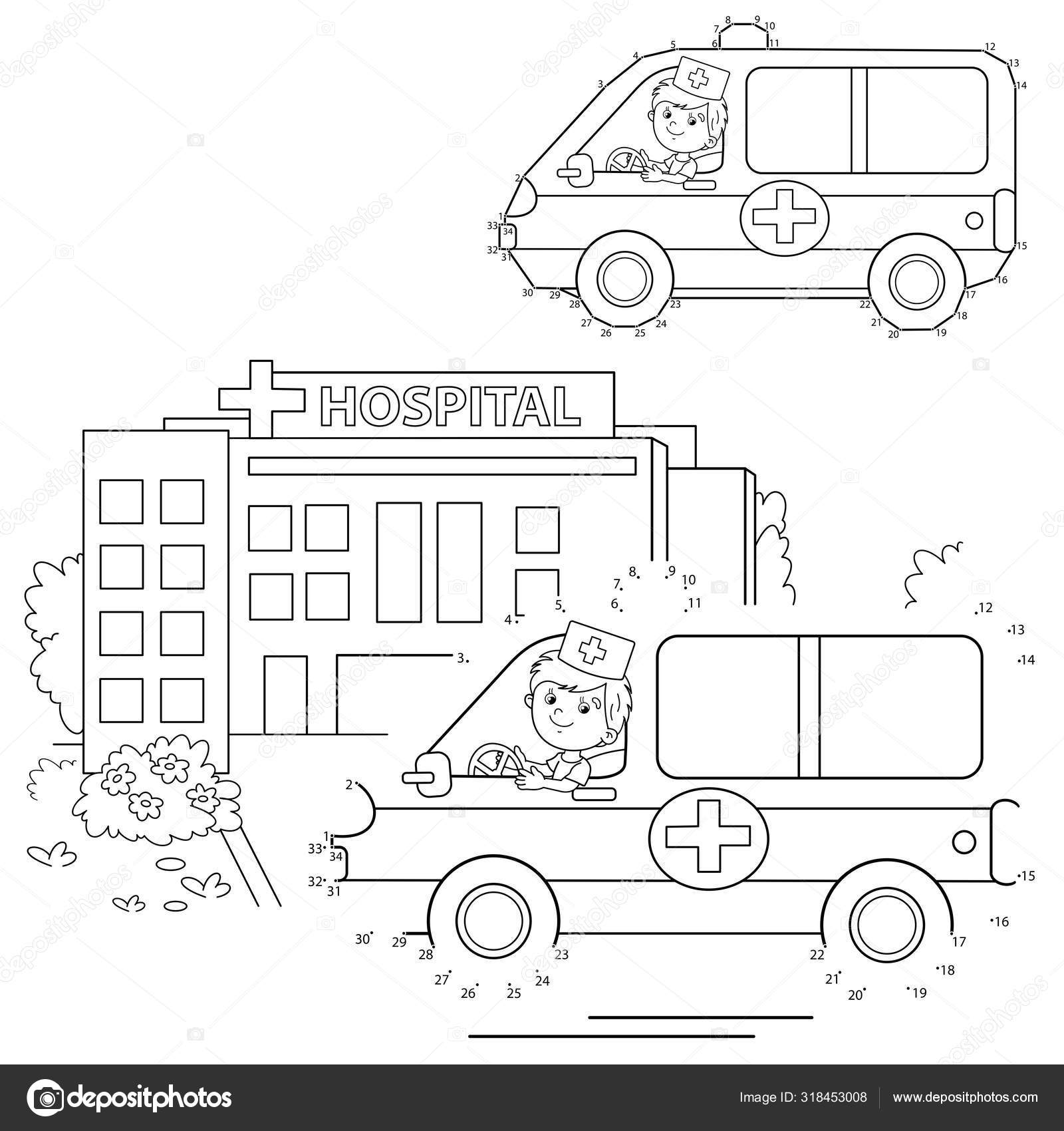 Educational Puzzle Game For Kids Numbers Game Ambulance Car Coloring Page Outline Of Cartoon Doctor With Ambulance Car Near The Hospital Coloring Book For Children Vector Image By C Oleon17