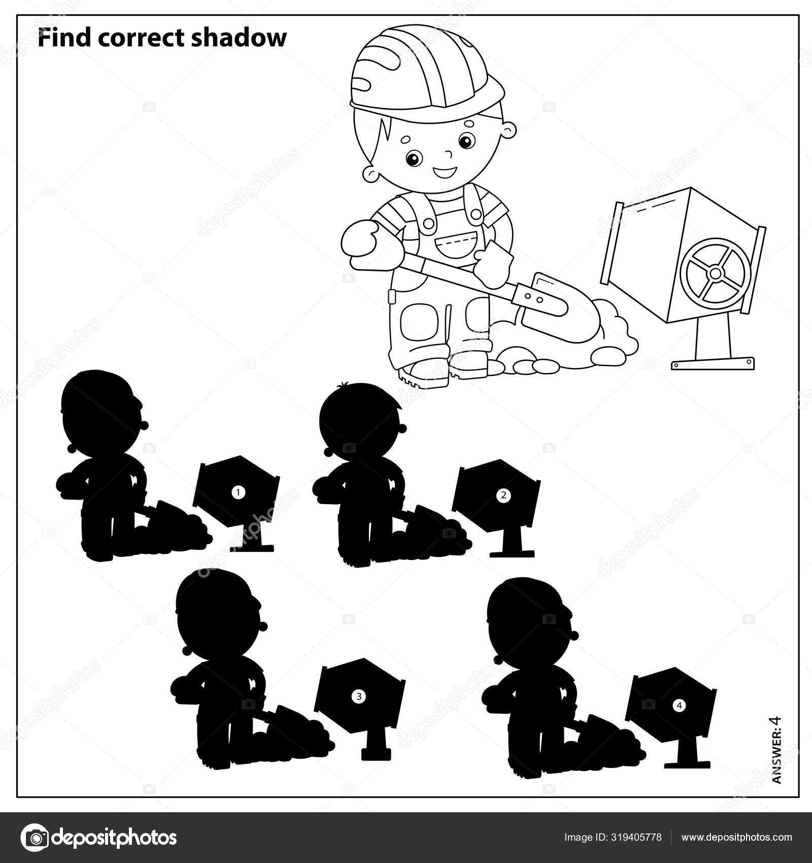 Игра с шайбой для детей. Найти правильную тень. Строитель ...