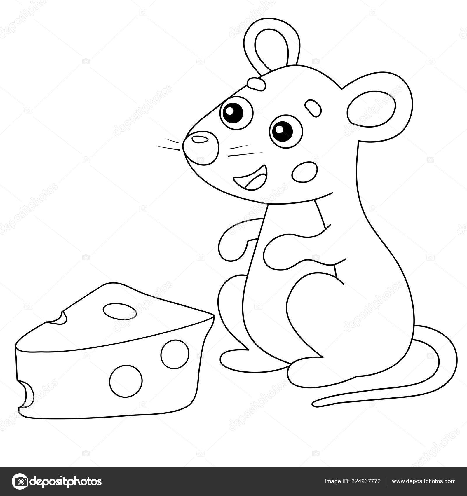 Coloring Page Outline of cartoon mouse with cheese. Animals ...