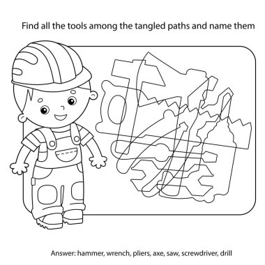 Puzzle Game for kids. Find all the tools among the tangled paths. Hammer, wrench, pliers, axe, saw, screwdriver, drill. Coloring book for children.