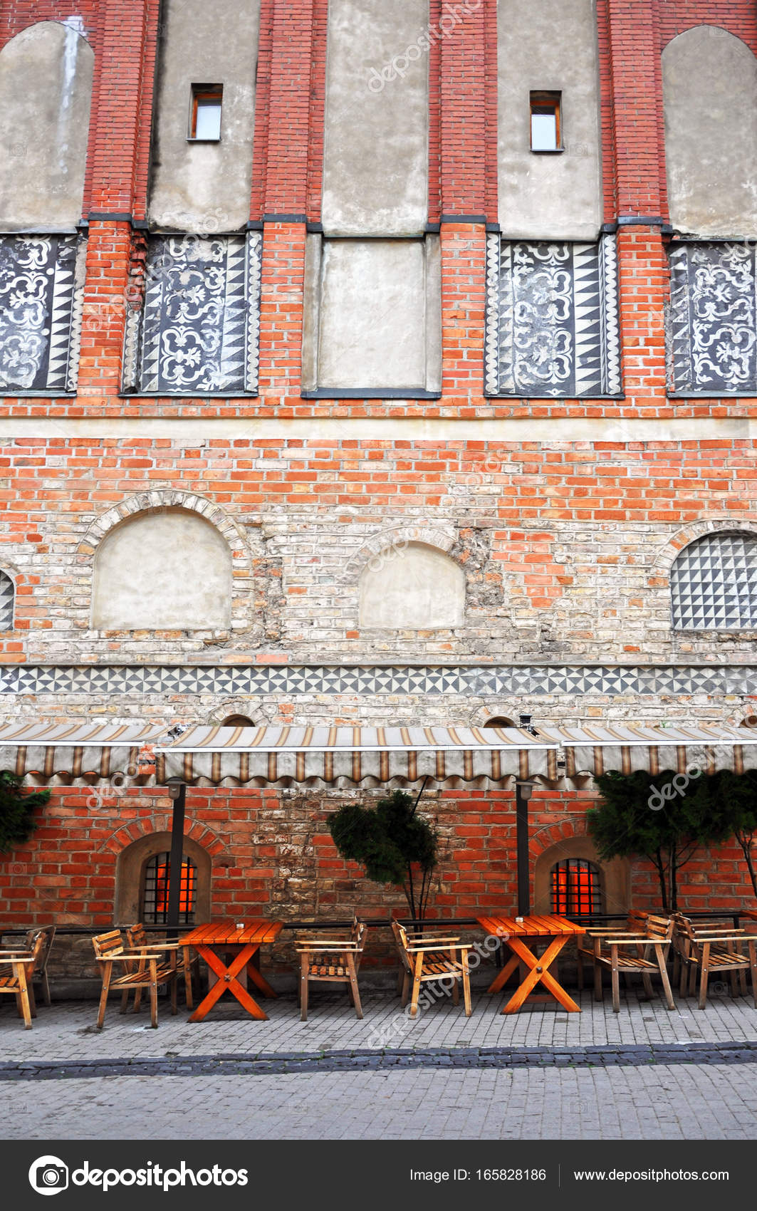 Ancient Red Brick Building With Cafe In Ausros Street Vilnius Lithuania Photo By Struvictory