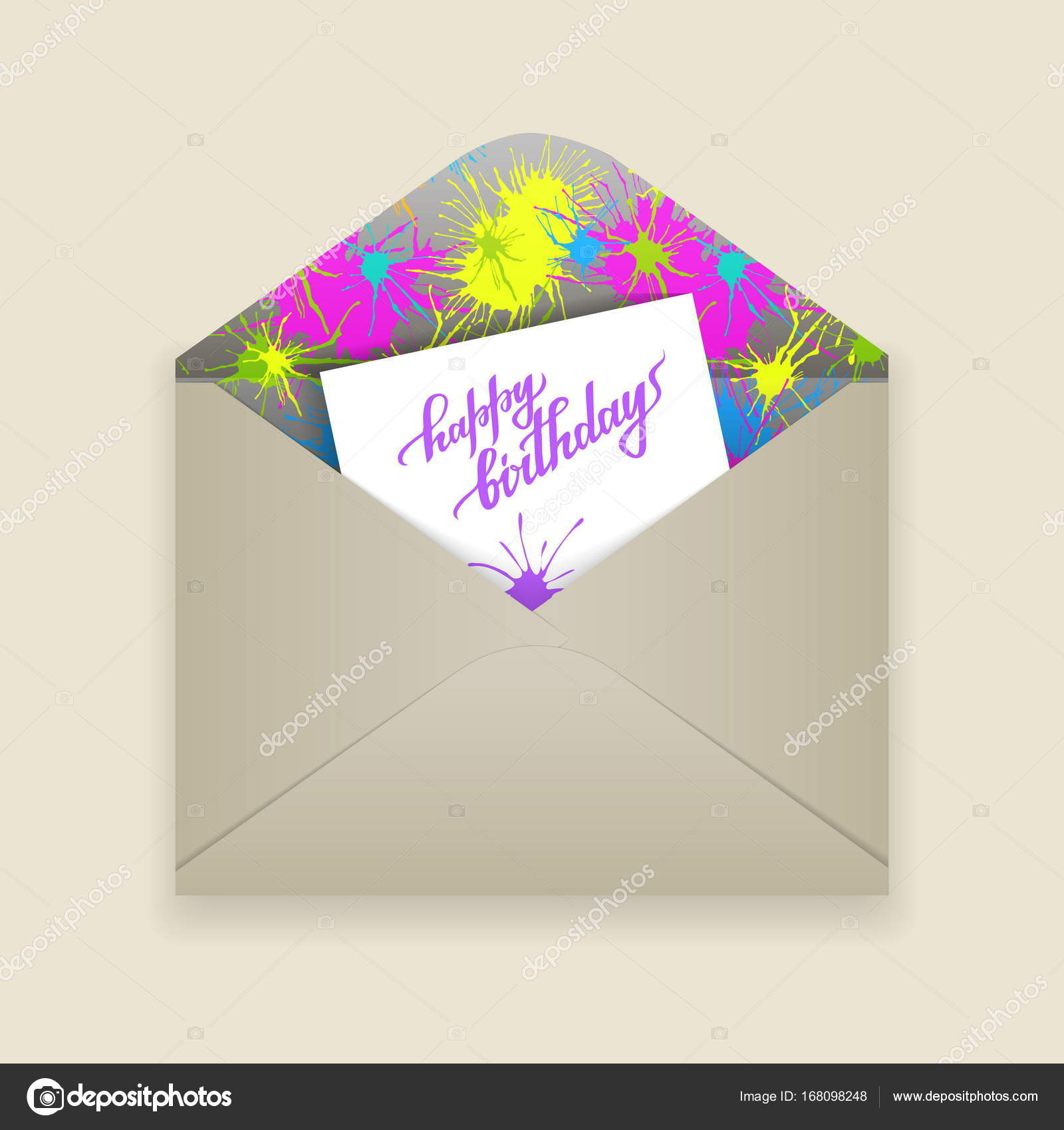 paper envelope with birthday letter inside stock vector
