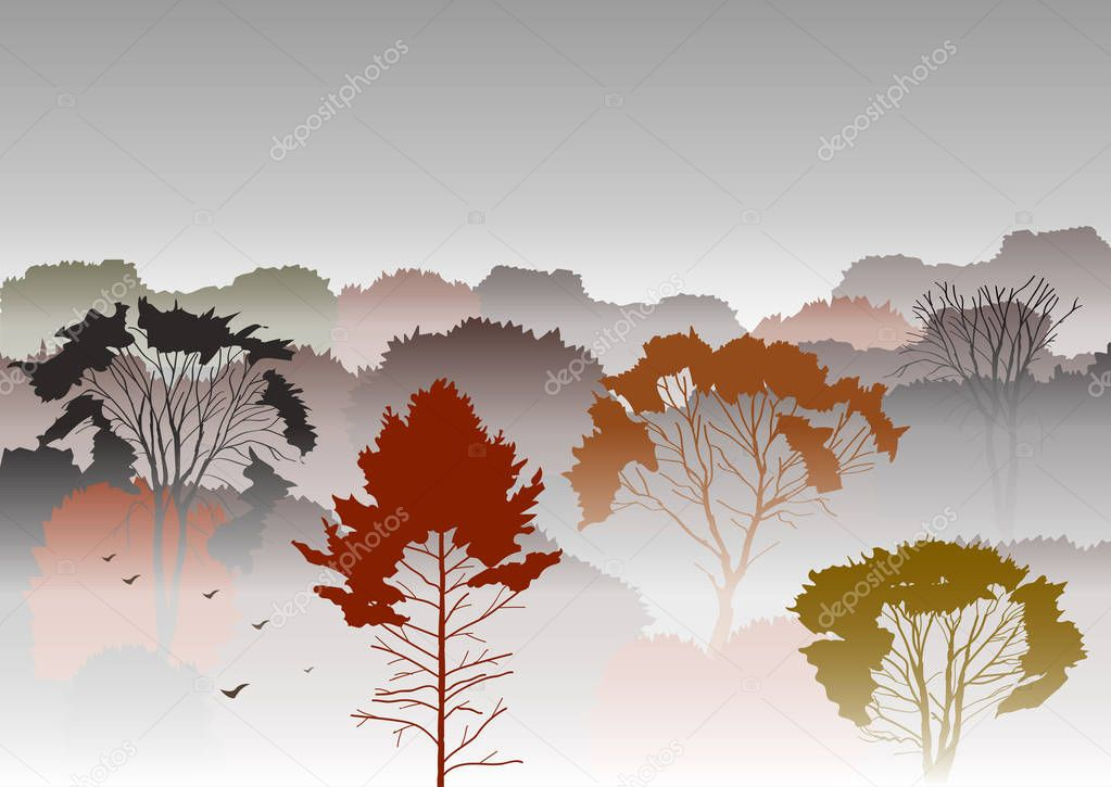 Autumn foggy forest illustration