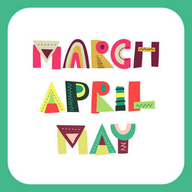 Vector lettering of spring months