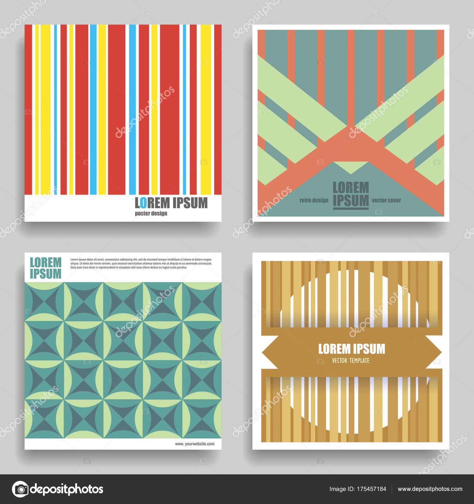 Reihe Von Vektor Quadrat Geometrische Vorlagen Für Plakate Flyer ...