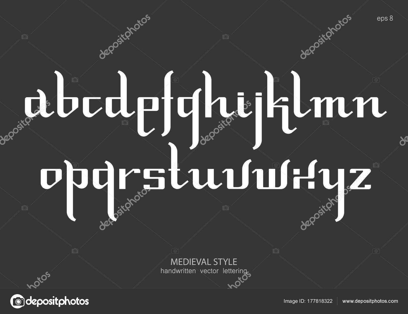 Vector Alphabet Set Lowercase Letters Gothic Medieval Style