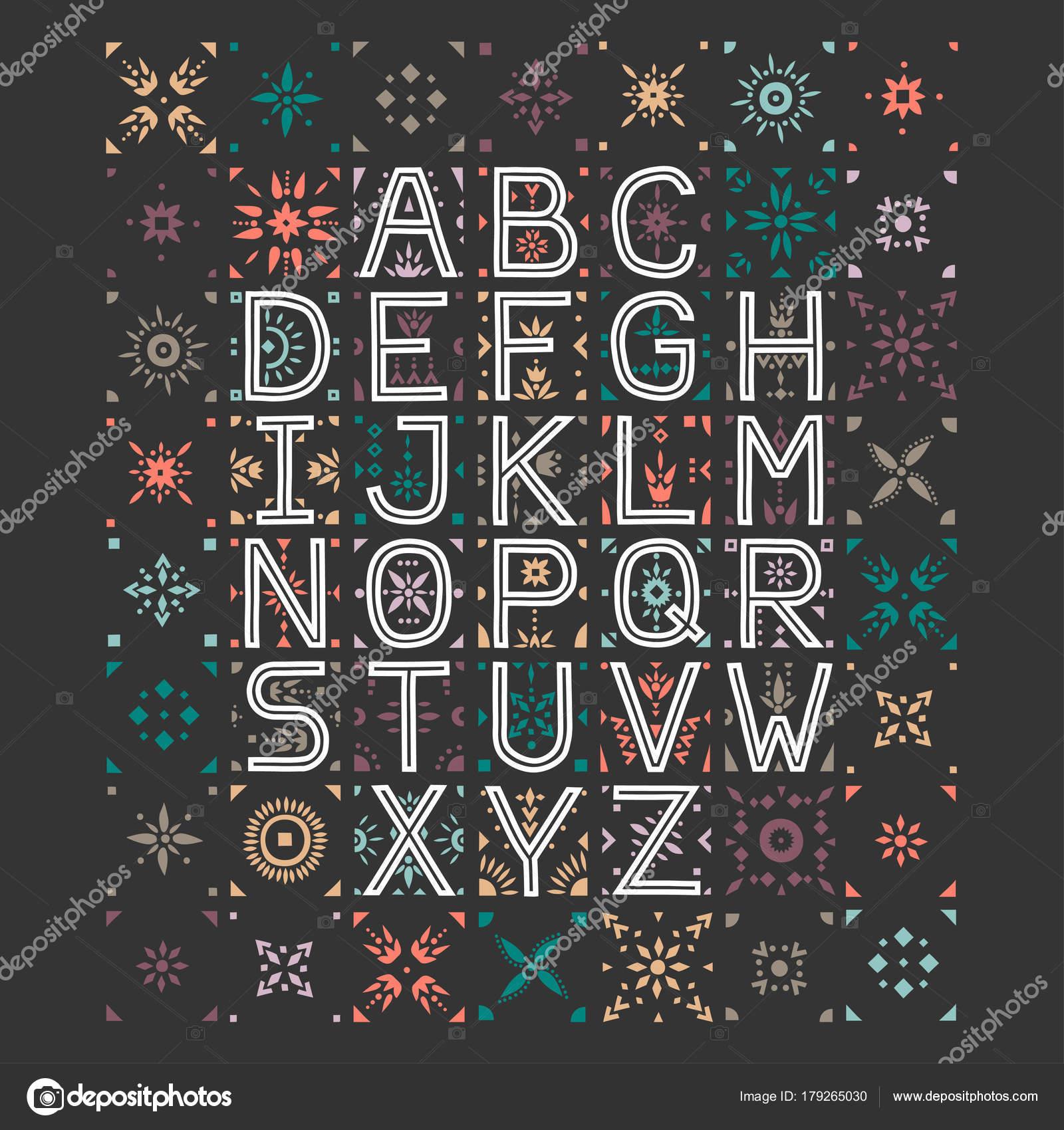 Alfabeto Capital Vector Letras Decorativas Con Espacio Negativo ...