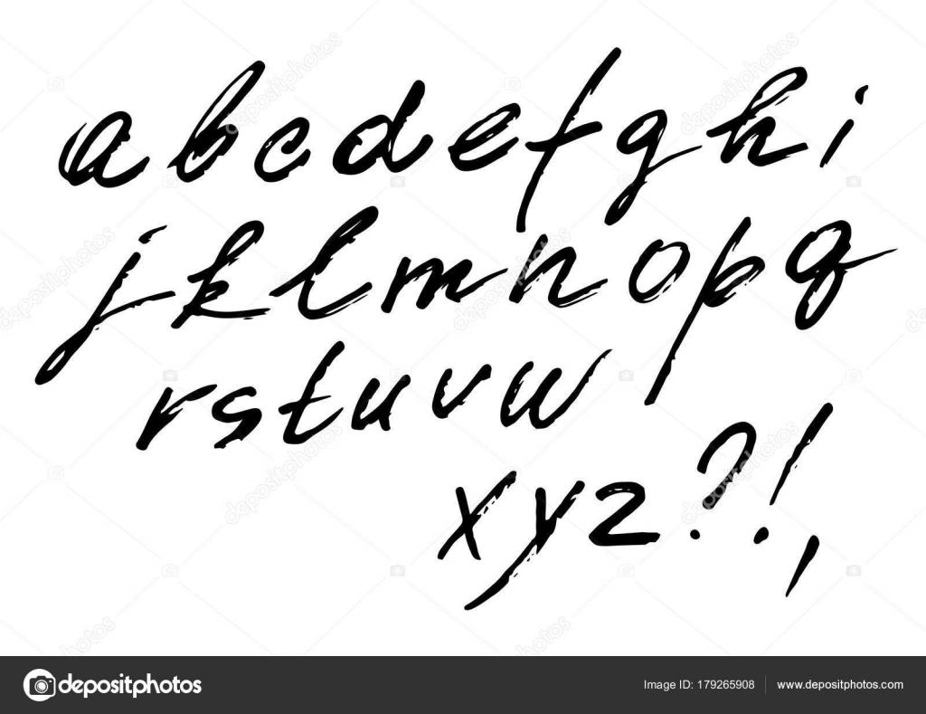 The Font Vector Set Of Cursive Alphabet Italic Written Marker Fast Style With Weak Pressure By Struvictory