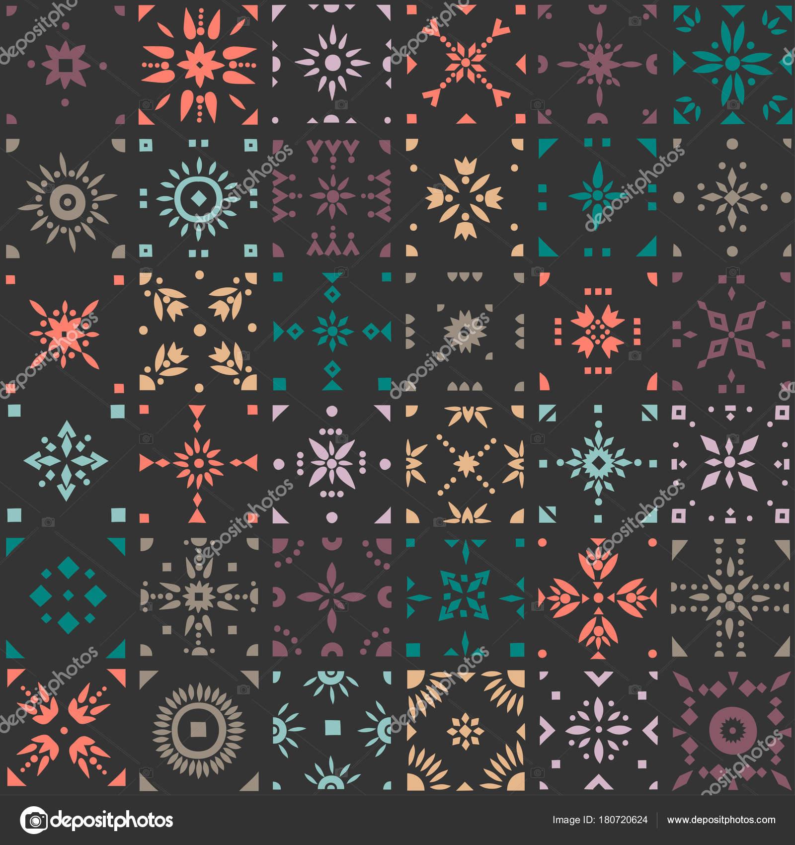 Nahtlose Vektormuster Von Quadratischen Mosaik Fliesen Mit Mustern