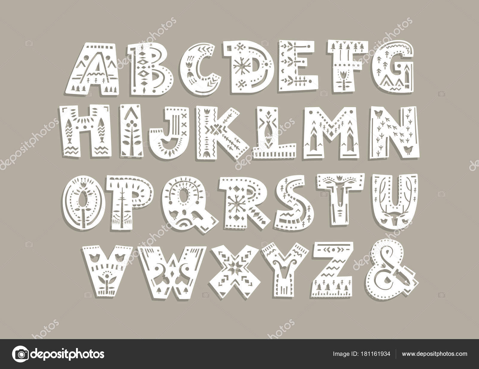 Vector Capital Alphabet Cut Out Letters Scandinavian Patterns Laser