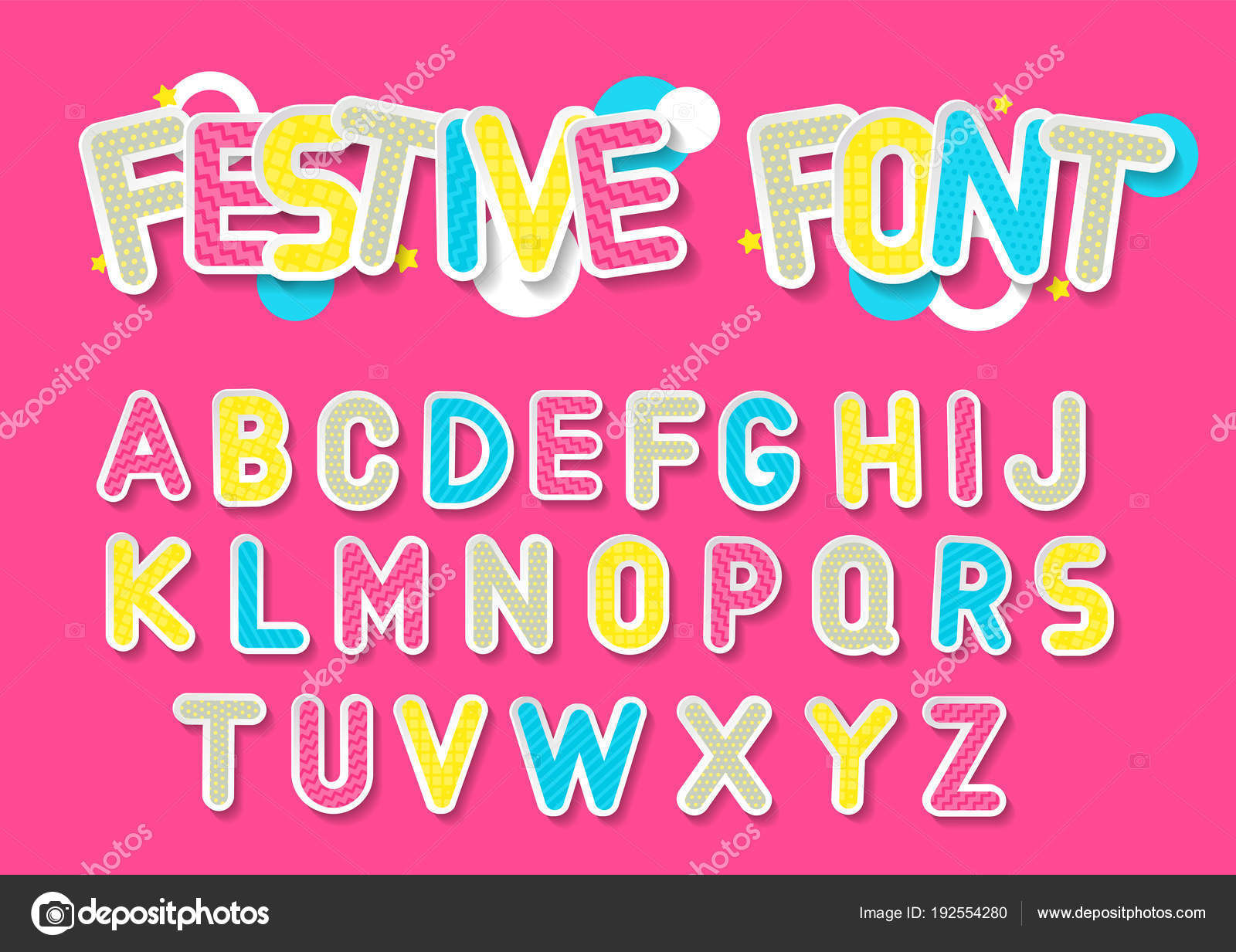 Concept Vector Festive Alphabet Color Letters White Outline Hatching ...