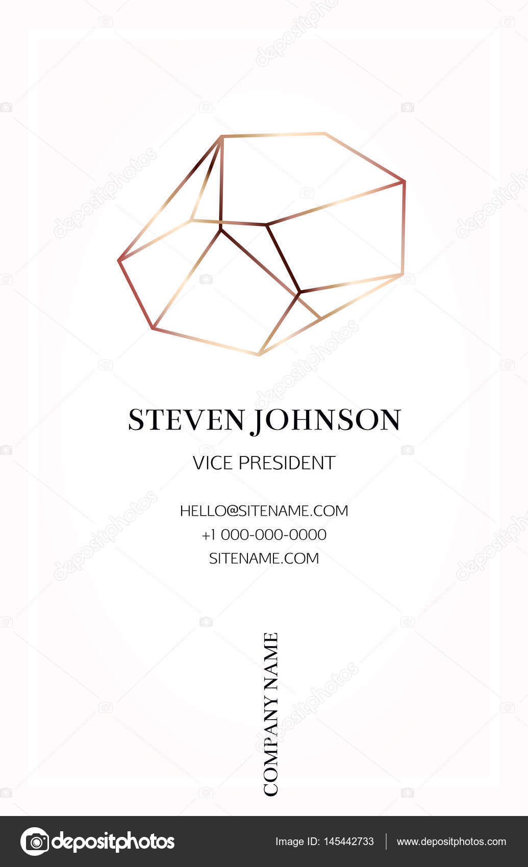 Pink business card with a bronze crystal logo — Stock Vector ...