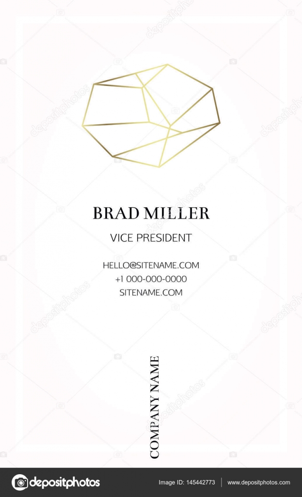 Pink business card with a gold crystal logo stock vector pink business card with a gold crystal logo gold polygonal shape corporate identity template in trendy colors with a gold stone for modern cute romantic accmission Image collections