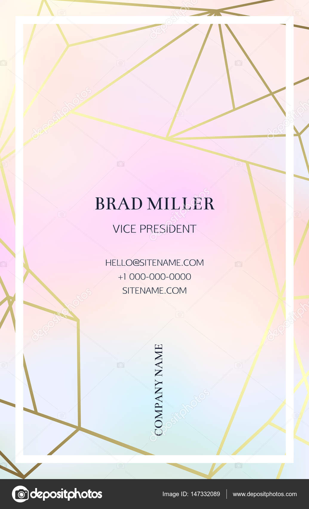 Pink business card with a geometric pattern stock vector pink business card with a geometric pattern gold polygonal texture corporate identity template in trendy colors with geometric shapes for modern cute accmission Choice Image