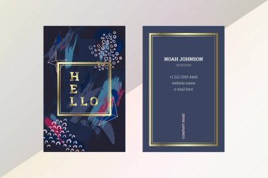 Double-sided business card template in blue color