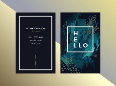 Double-sided business card template in green color
