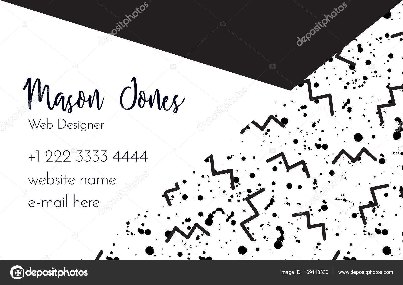 Business card template in the style of Memphis — Stock Vector ...