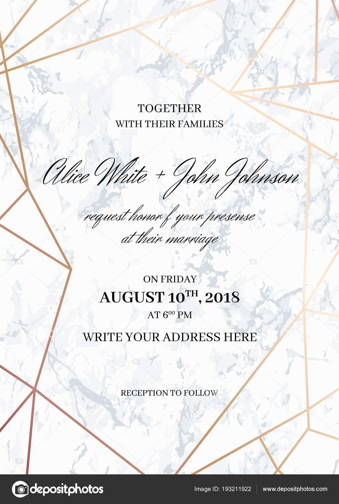 Szablon Karty Zaproszenia ślubne Geometryczny Wzór Grafika