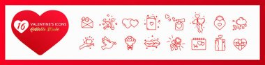 Set of icons Valentines day. Editable stroke. Thin line. stock vector