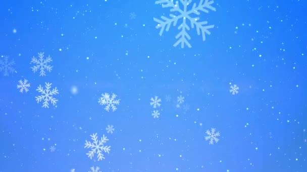Kék karácsonyfa szikrázik és hófödte háttér