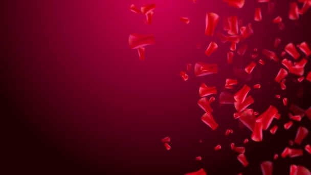 Valentines day falling rose petals