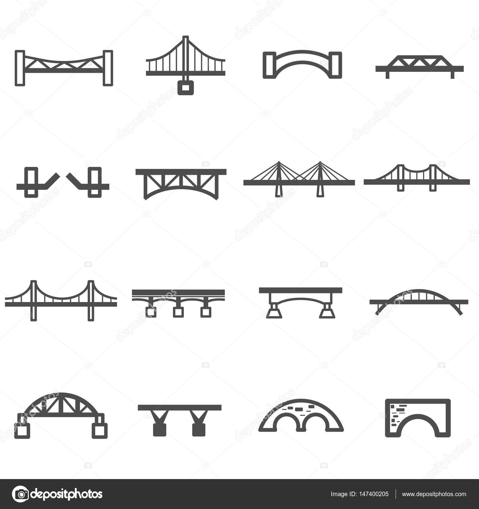 Bridge Line Icon Set Vector Stock Chingraph 147400205 Diagram Related Keywords Suggestions Beam By Find Similar Images
