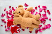 Fotografie Funny picture of a love making teddy bear couple on roses. Valentine background.