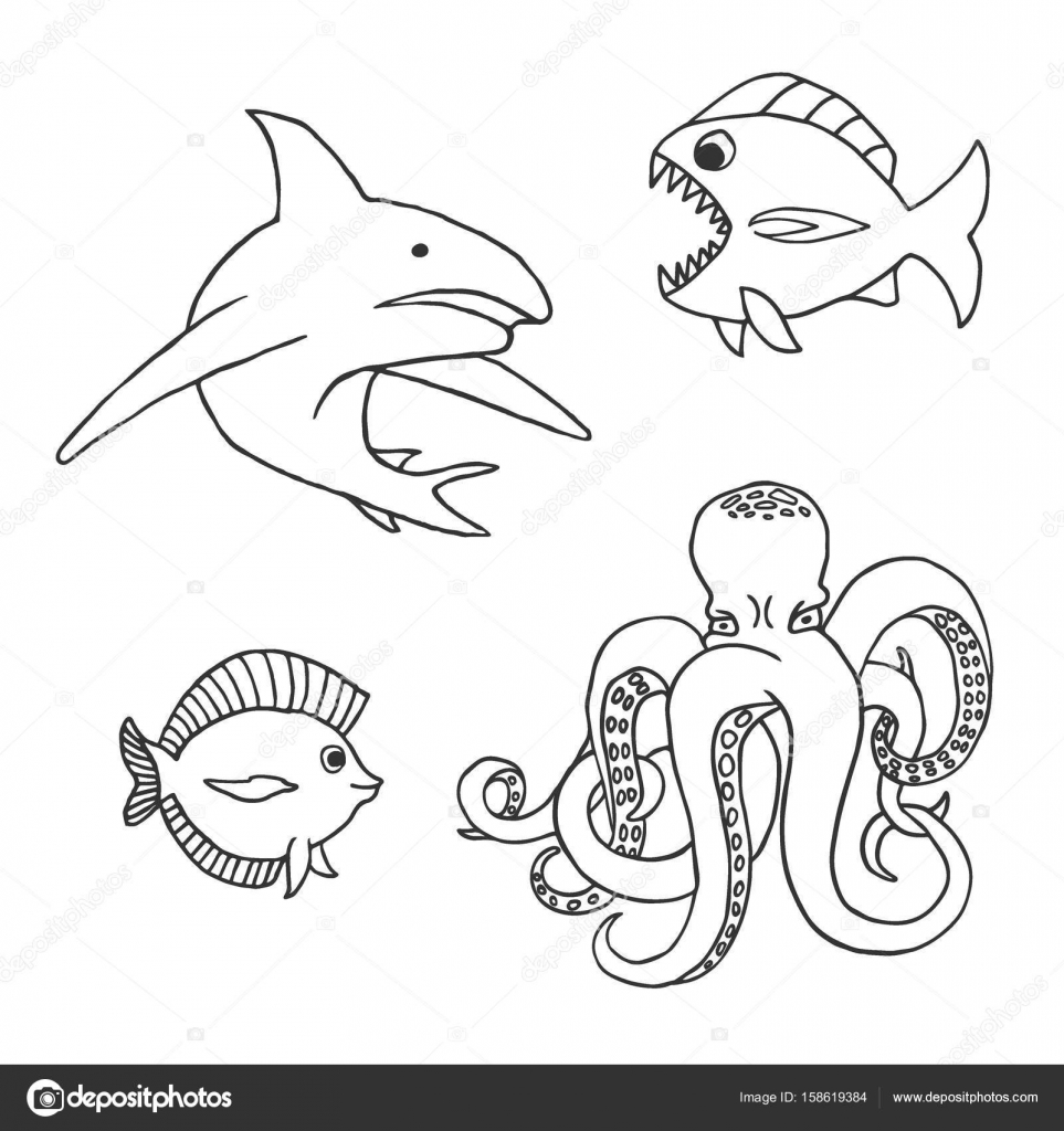 Deniz Hayvanları Karakter Köpek Balığı Balık Ve Ahtapot Stok