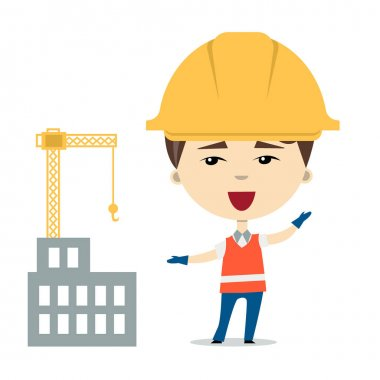 Flatvector illustration of funny cartoon worker or constructor wearing hardhats and safety vest near the building under construction. Isolated on white. Design element for ads, web or children book stock vector