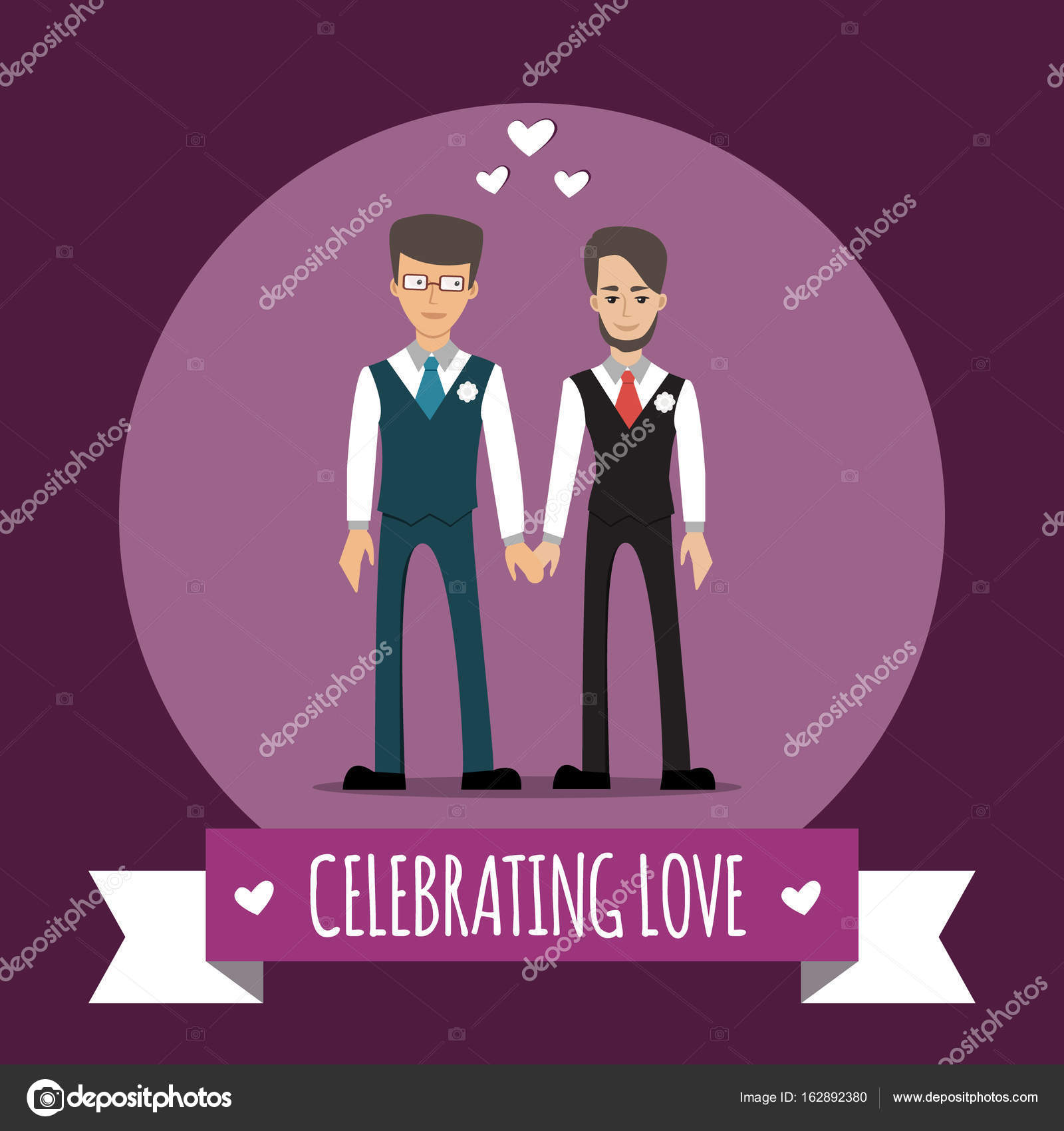 Gay Paar. Vektor Illustration Isoliert Auf Weiss. Homo Familie. Männliche  Homosexuelle Charaktere. Design Für Hochzeitseinladung U2014 Vektor Von Lenoleum